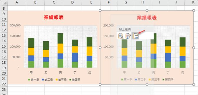 Excel-統計圖表標題和儲存格連動、設定統計圖表圖片效果