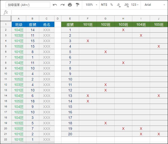 Excel-從已繳交清單中找出尚未繳交作業的學生(SUMPRODUCT)