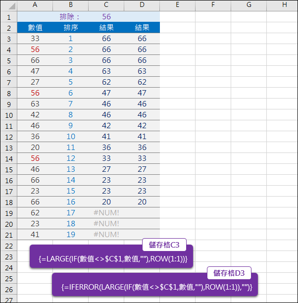Excel-數值排序時排除指定數值(LARGE,陣列)