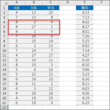 Excel-根據2欄的數據來排序名次