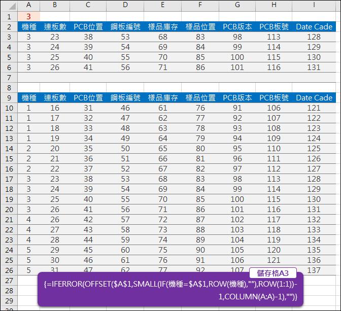 Excel-查詢同欄中相同內容的資料2(OFFSET,陣列公式)