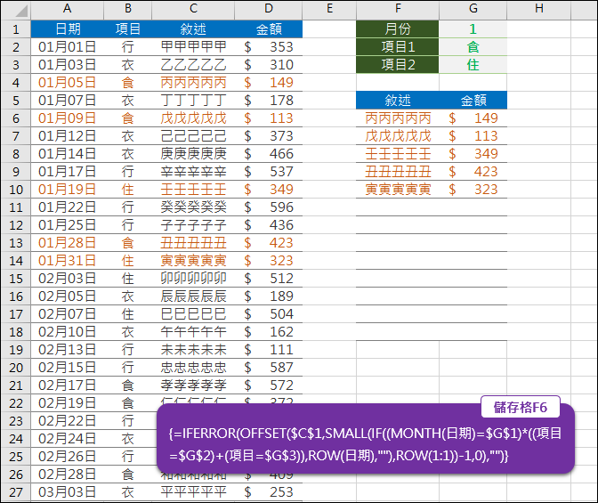Excel-使用多條件篩選資料(AND,OR)(OFFSET,SMALL,ROW,MONTH,陣列公式)