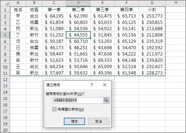 Excel-介紹資料範圍與表格
