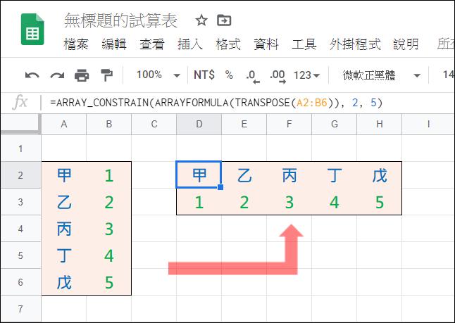 Excel-轉置矩陣儲存格(TRANSPOSE,OFFSET,ROW,COLUMN)