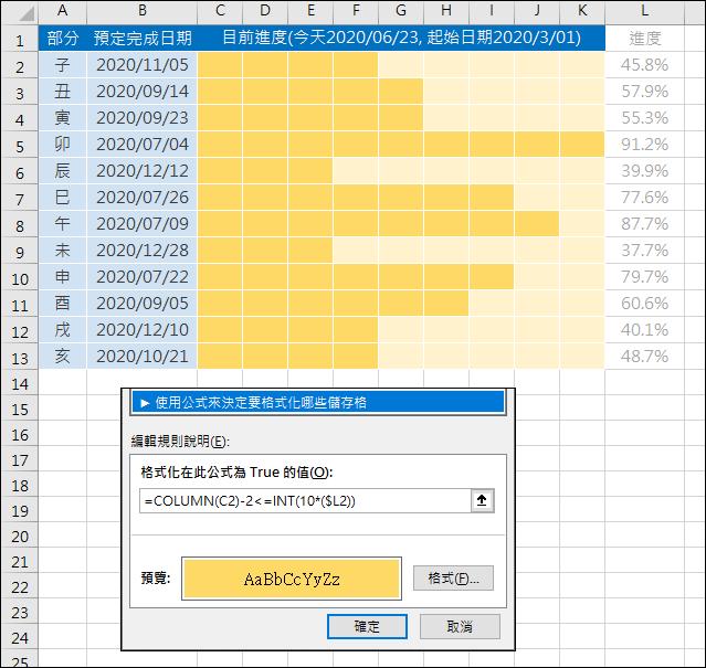 Excel-利用設定格式化的條件來表示強度