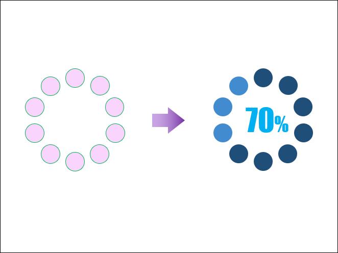 PowerPoint-製作由10個圓形組成的比例圖形