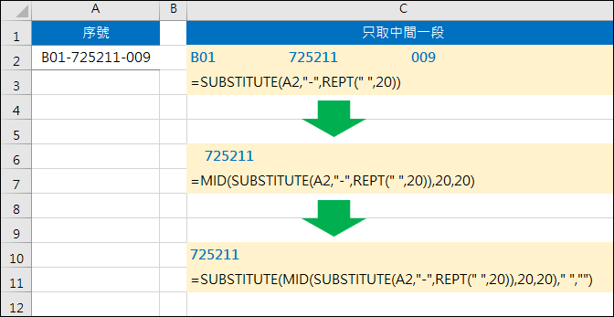 Excel-取出多段字元其中一段(非資料剖析,SUBSTITUTE,MID,REPT)