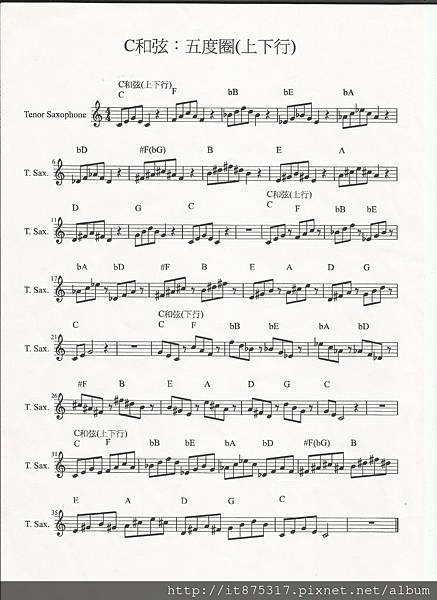 C和弦:五度圈(上下行)