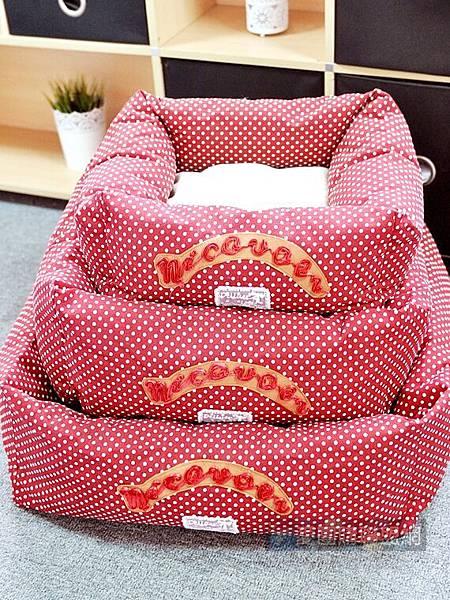 NICOVAER帆布方狗窩|寵物睡墊|寵物睡窩|寵物睡床 紅底白圓點