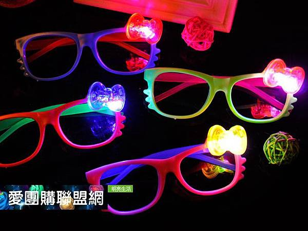 LED卡通貓蝴蝶結發光眼鏡框|皇冠裝飾發光眼鏡框|閃光眼鏡框|聖誕派對裝飾面具