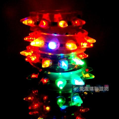 LED發光手環 閃光手環  閃光軟膠手鐲 發光矽膠手鐲  LED軟膠帶刺發光手鐲
