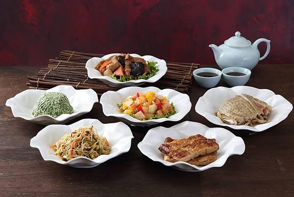 亞都麗緻天香樓-六小盆-翡翠豆干、王家素雞、紹興醉雞、年年如意、墨魚沙拉、寧式烤麩.JPG
