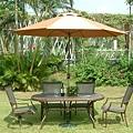 3x5鋁桌大理石桌面-9尺不鏽鋼玻纖傘(手搖式).JPG