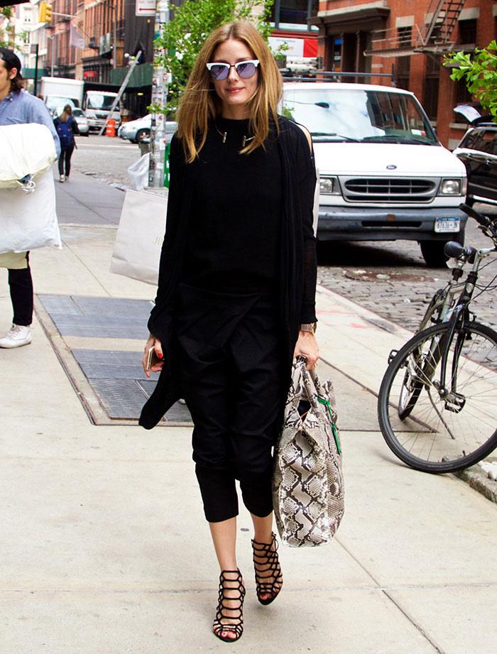 Olivia-Palermo-black-outfit-snakeskin-bag-cage-sandals.jpg