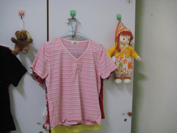 條紋粉紅色上衣