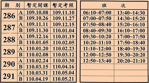 台南統一駕訓班課表