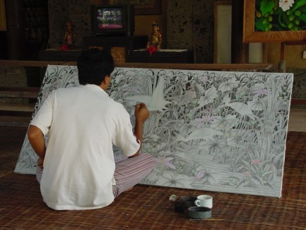Fine Gallery 外的畫家現場作畫。