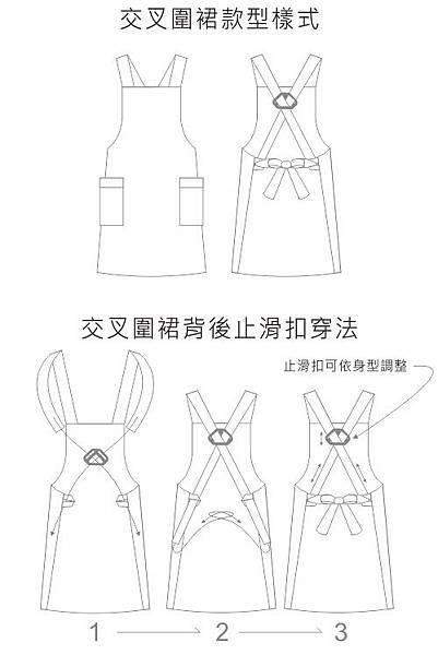 交叉圍裙版型