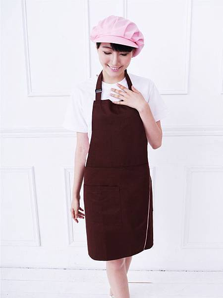 掛頸包覆式圍裙-咖啡