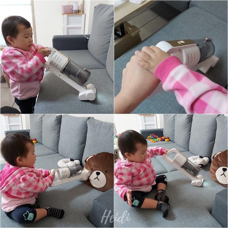 富士電通 無線手持吸塵器 吸沙發 訓練小朋友幫忙做家事.jpg