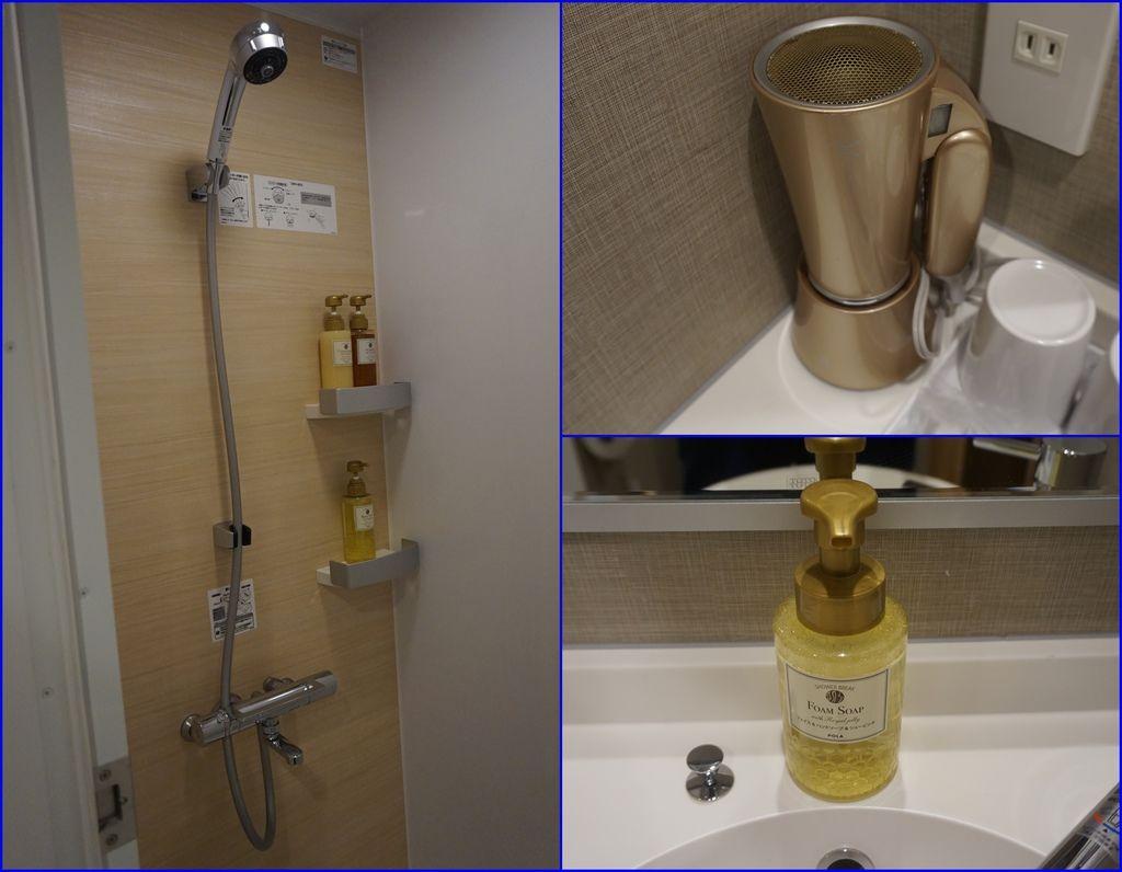 22飯店房間浴室~恆溫龍頭~吹風機~按下去會有泡泡的洗手洗面乳.jpg