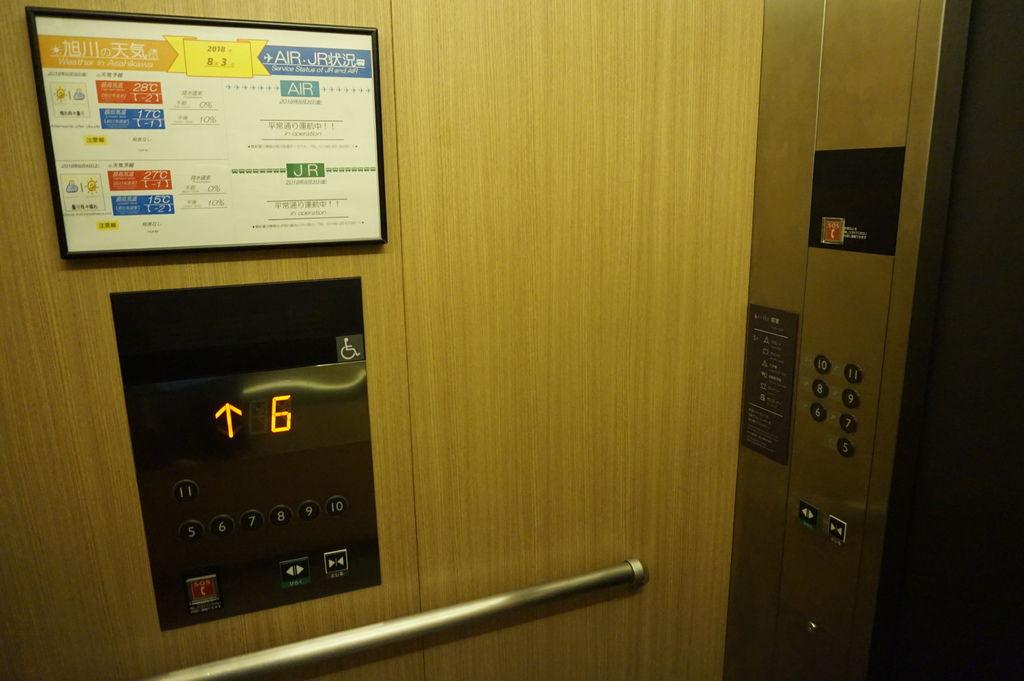 04旭川JR INN超貼心~電梯裡有當天旭川天氣及JR列車的相關訊息.JPG