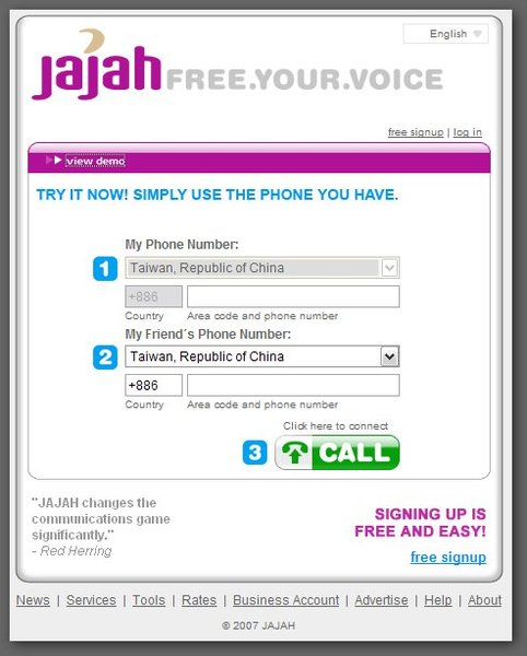 Jajah, a cheap international call provider