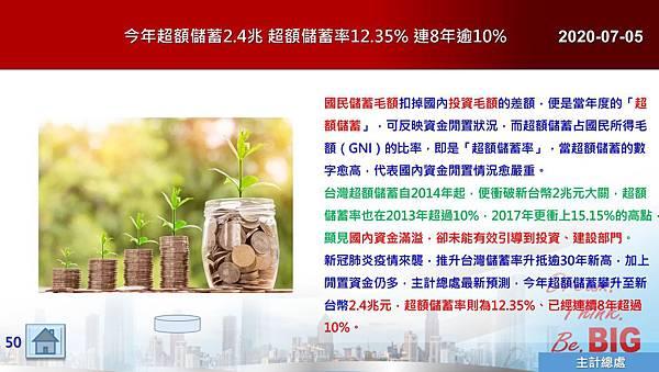 2020-07-05 今年超額儲蓄2.4兆 超額儲蓄率12.35% 連8年逾10%.JPG