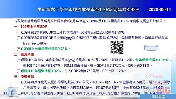 2020-08-14 主計總處下修今年經濟成長率至1.56% 明年為3.92%.JPG