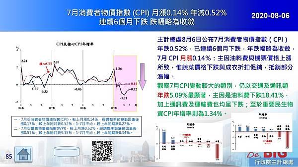 2020-08-06 7月消費者物價指數 (CPI) 月漲0.14% 年減0.52% 連續6個月下跌 跌幅略為收斂.JPG