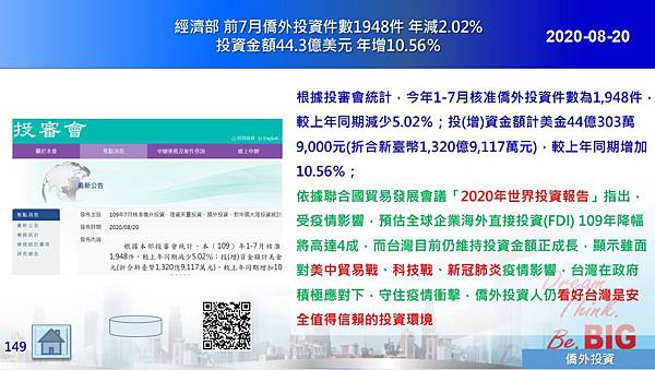 2020-08-20 經濟部投審會 前7月僑外投資件數1948件 年減2.02%投資金額44.3億美元 年增10.56%.JPG