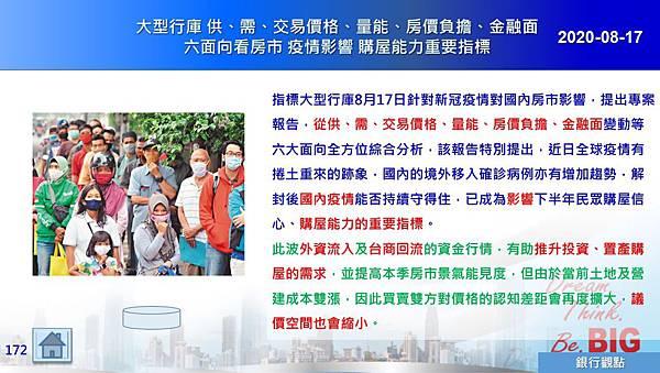 2020-08-17 大型行庫 供、需、交易價格、量能、房價負擔、金融面六面向看房市 疫情影響 購屋能力重要指標.JPG
