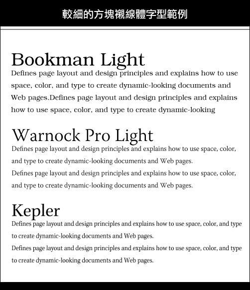 較細的方塊襯線體字型範例