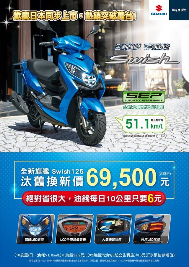 重輪車業 Swish125 汰舊換新價 69500元