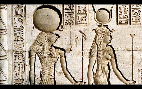 荷魯斯(Horus)和伊西斯(Isis)的描繪浮雕