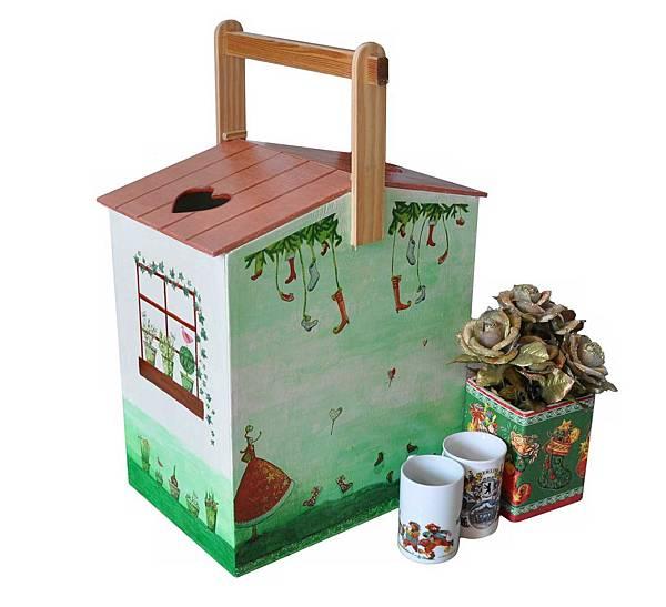 房子形狀的可愛提盒
