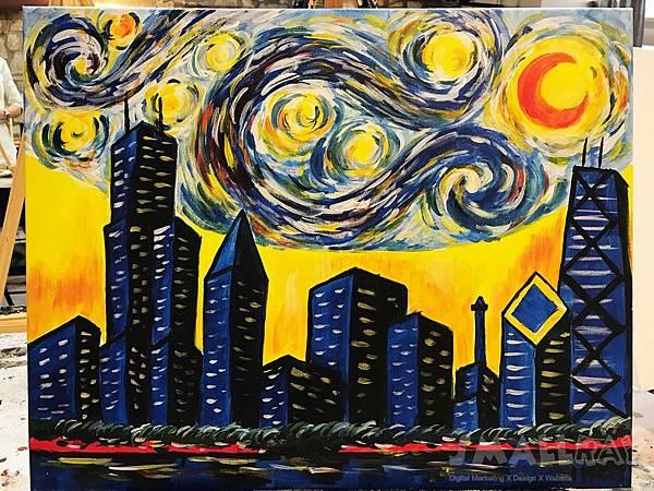 Van Gogh in Chicago Painting Class-梵谷風格芝加哥天際線油畫教室-芝加哥行程推薦,芝加哥行程攻略
