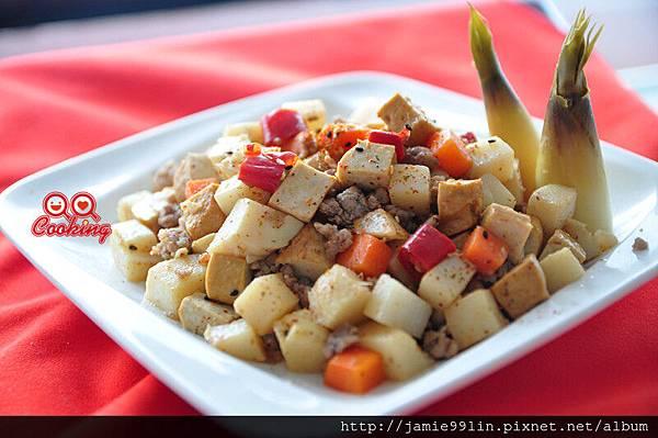 肉末豆干炒筍丁