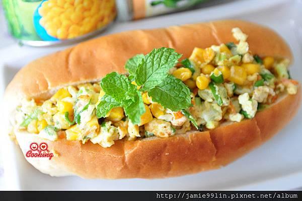 玉米蔥蛋堡