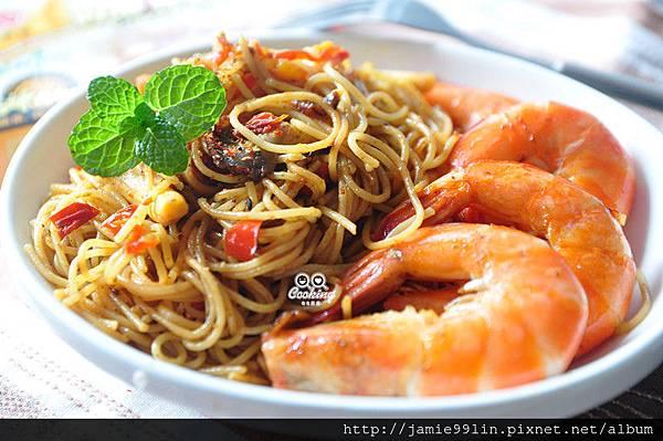 香辣奶油咖哩蝦義麵