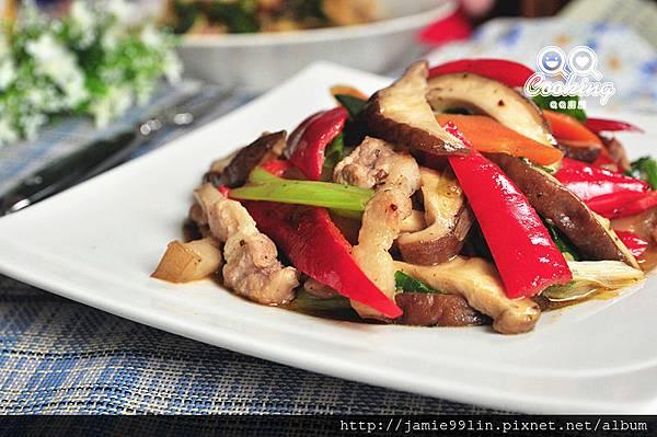 紅椒炒香菇