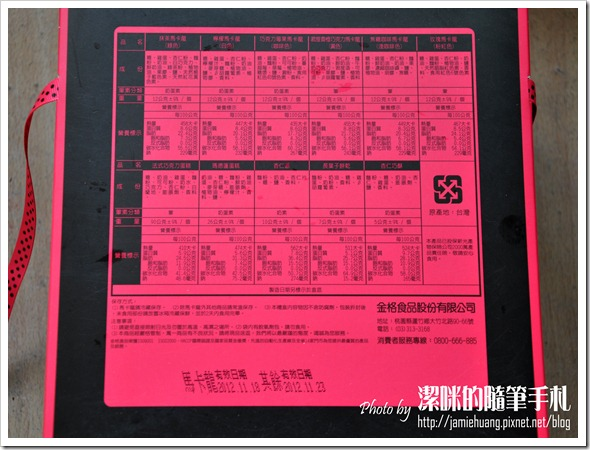 金革法式馬卡龍彌月禮盒之品名說明