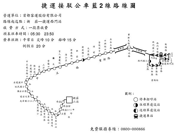 捷運接駁公車藍2 線路線圖