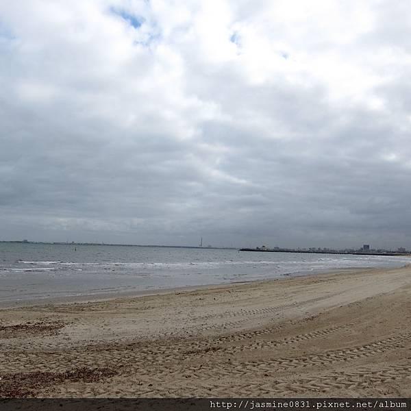 Beach view with grey sky