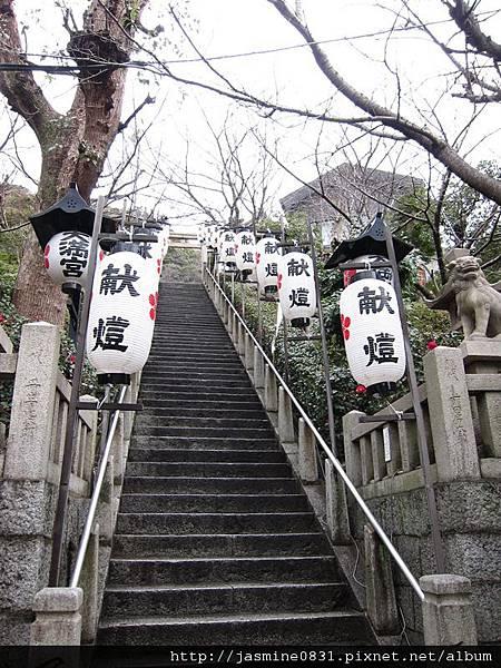 北野天滿神社長長的樓梯