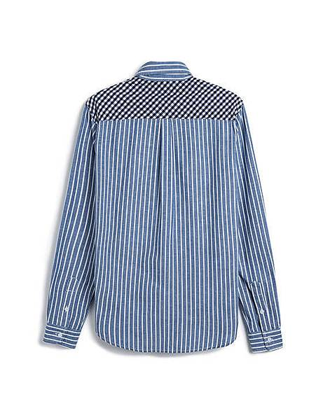 多樣元素格紋拼接直條紋長袖襯衫02