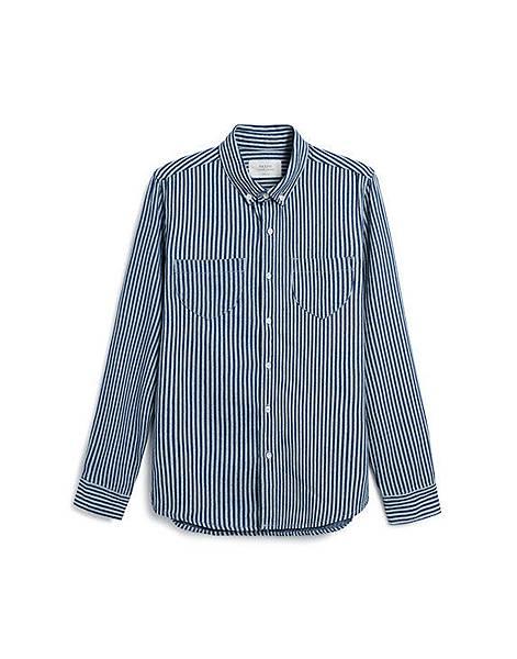 絕型魅力直條紋丹寧長袖襯衫