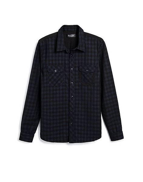 撞色拼接雙口袋格紋長袖襯衫