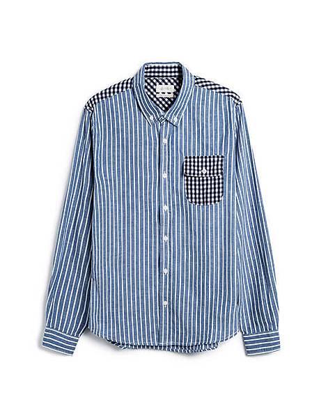 多樣元素格紋拼接直條紋長袖襯衫