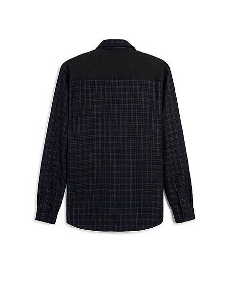 撞色拼接雙口袋格紋長袖襯衫02